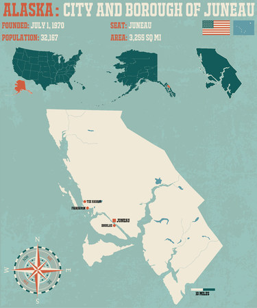 borough: Large and detailed infographic of the City and Borough of Juneau in Alaska Illustration
