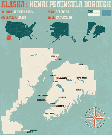 peninsula: Large and detailed infographic of the Kenai Peninsula Borough in Alaska