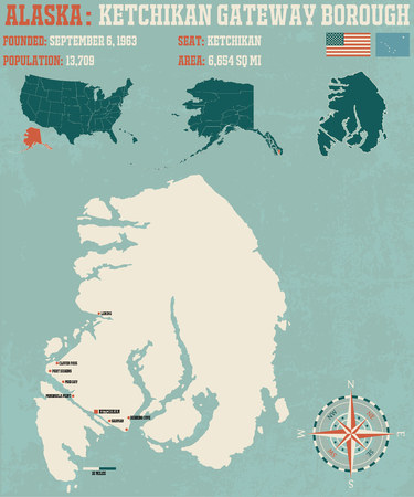 borough: Large and detailed infographic of the Ketchigan Gateway Borough in Alaska