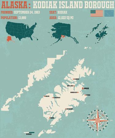kodiak: Large and detailed infographic of the Kodiac Iceland Borough in Alaska