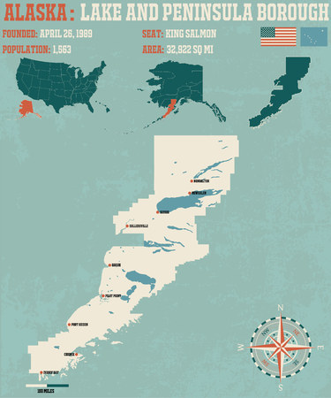 peninsula: Large and detailed infographic of the Lake and Peninsula Borough, Alaska