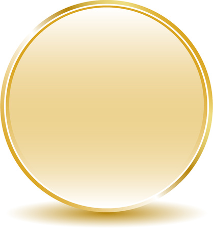Golden button with shadow Ilustrace