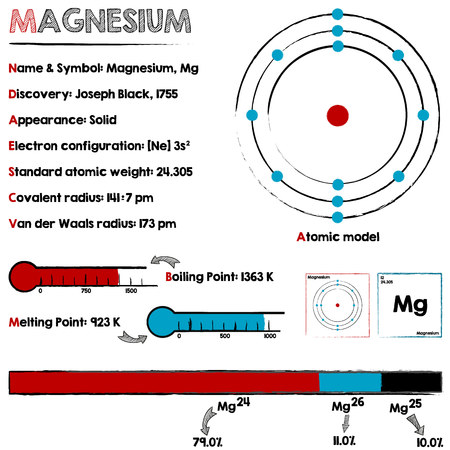 magnesium: Large and detailed infographic about the element of magnesium.