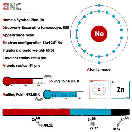 Large and detaileds infographic about the element of Zinc. Illustration