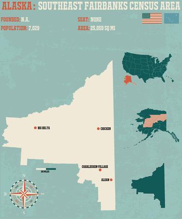 남동 페어 뱅크스 인구 조사 지역의 알래스카의 크고 상세한 인포 그래픽