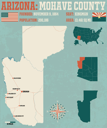 Large and detailed map and infographic of Mohave County in Arizona. Illustration