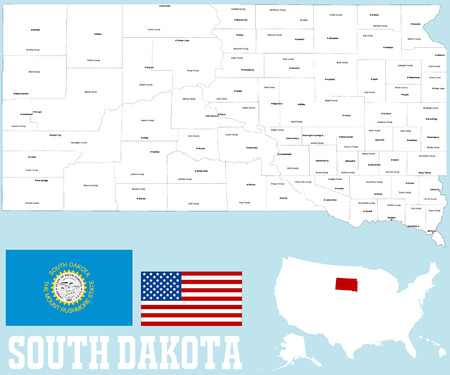 counties: A large and detailed map of the State of South Dakota with all counties and county seats