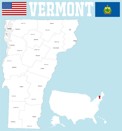 counties: large and detailed map of the State of Vermont with all counties and county seats Illustration