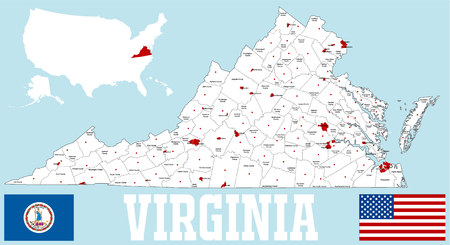 A large and detailed map of the State of Virginia with all counties and county seats Illustration