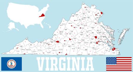 Une carte grande et détaillée de l'État de Virginie avec tous les comtés et les sièges du comté