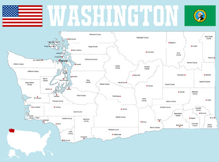 A large and detailed map of the State of Washington with all counties and county seats Illustration