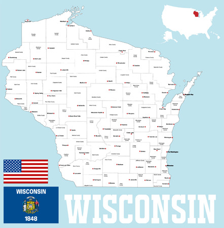 A large and detailed map of the State of Wisoncin with all counties and county seats Vetores