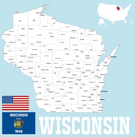 Une carte grande et détaillée de l'état de Wisoncin avec tous les comtés et les sièges du comté Vecteurs