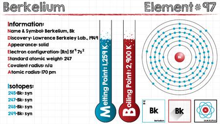 Large and detailed infographic of the element of Berkelium. Illustration