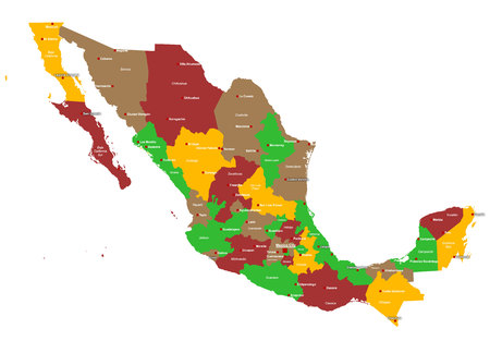 Large and detailed map of Mexico with regions and main cities Illustration