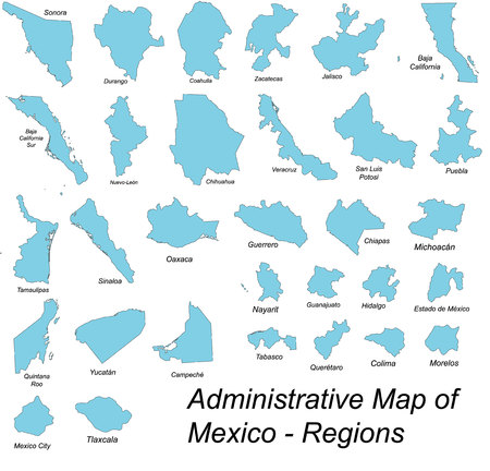 All large and detailed regions of Mexico Vectores