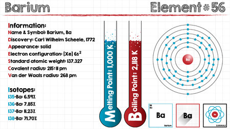 Large and detailed infographic of the element of barium. Illustration