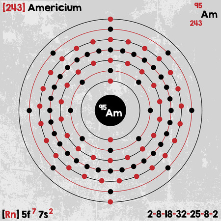 Large and detailed infographic of the element of americium. Illustration