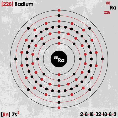 Large and detailed infographic of the element of radium. Illustration