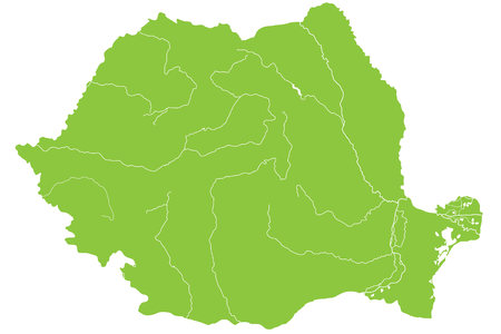 Large and detailed map of Romania with all rivers and lakes