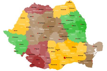 Mapa grande y detallado de Rumania con regiones y ciudades principales Foto de archivo - 76863134