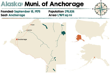 Large and detailed map of Municipality of Anchorage in Alaska Illustration