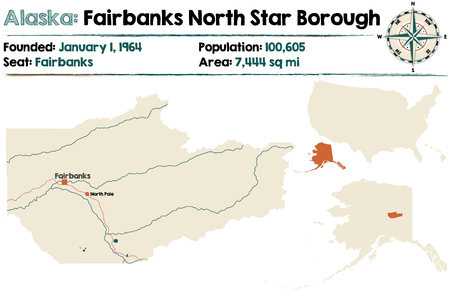 census: Large and detailed map of Fairbanks North Starborough in Alaska