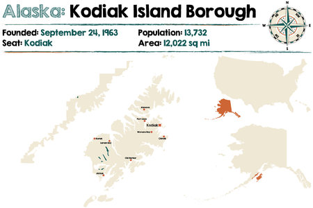 kodiak: Large and detailed map of Kodiak Island Borough in Alaska