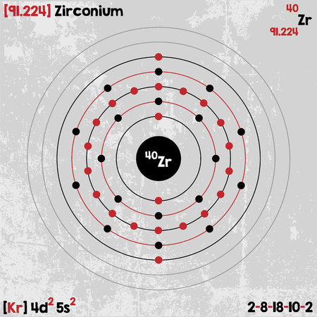 Large and detailed infographic of the element of zirconium. Illustration