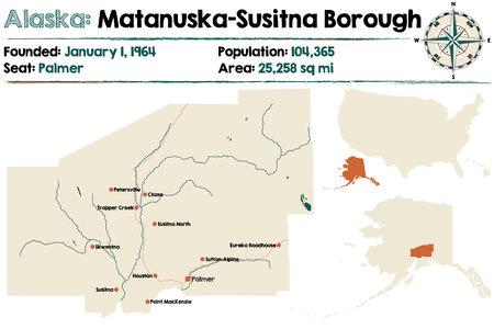 Large and detailed map of Matanuska-Susitna Borough in Alaska