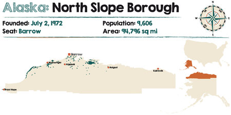 Large and detailed map of North Slopeborough in Alaska