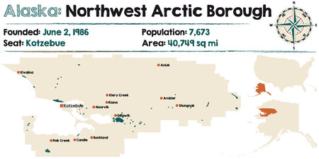 Large and detailed map of Northwest Arctic Borough in Alaska