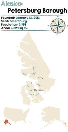 Large and detailed map of Petersburg Borough in Alaska