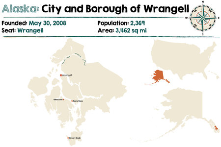 Large and detailed map of the city and Borough of Wrangell Borough in Alaska