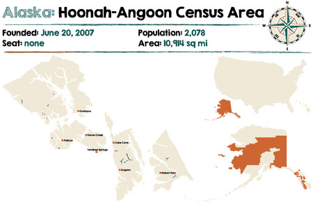 Large and detailed map of Hoonah? ? Angoon Census Area in Alaska