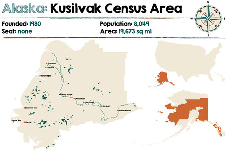 census: Large and detailed map of Kusilvak Census Area in Alaska Illustration