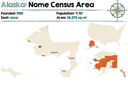Large and detailed map of Nome Census Area in Alaska