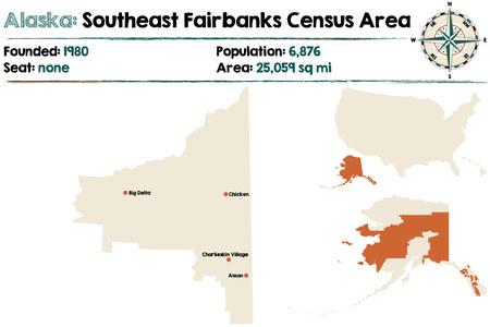 알래스카의 남동 페어 뱅크스 인구 조사 지역의 크고 상세한지도
