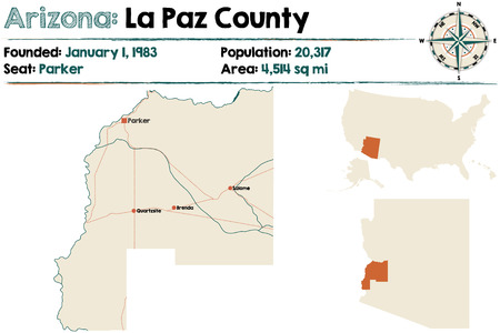 Large and detailed map of La Paz county in Arizona Imagens - 81561157