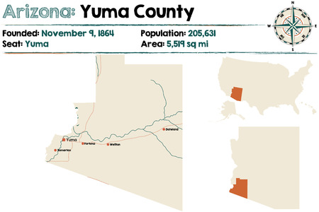 Large and detailed map of Yuma county in Arizona Illustration
