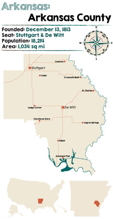 Large and detailed map of Arkansas county in Arkansas