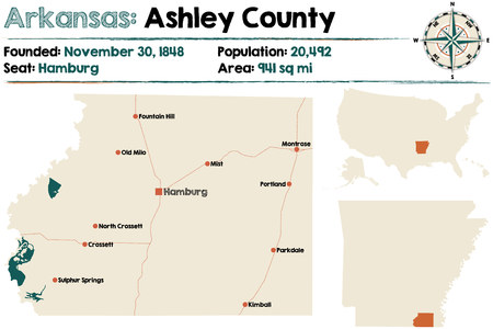 Large and detailed map of Ashley county in Arkansas