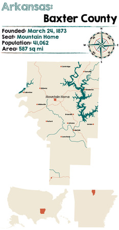 Large and detailed map of Baxter county in Arkansas Illustration