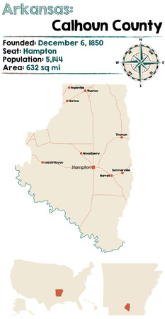 Large and detailed map of Calhoun county in Arkansas Illustration