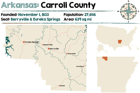 Large and detailed map of Carroll county in Arkansas illustration.