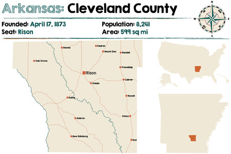 Large and detailed map of Cleveland county in Arkansas