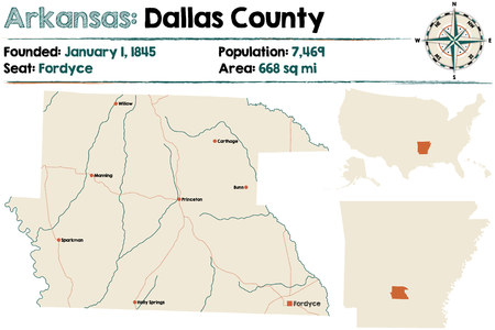 Large And Detailed Map Of Dallas County In Arkansas Royalty Free