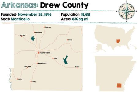 アーカンソー州のドリュー郡の大規模かつ詳細な地図