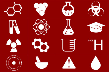 Different chemical icons set in red color