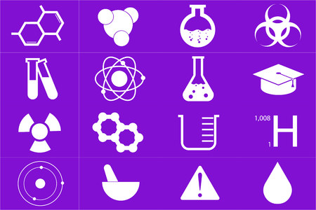 Different chemical icons set in purple color Illustration